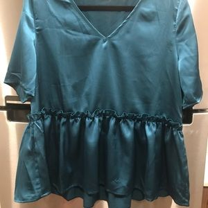 NWOT Silky teal top with ruffle detail